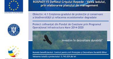 """Lansarea proiectului """"Îmbunătățirea stării de conservare a biodiversității în ROSPA 0115 Defileul Crișului Repede – Valea Iadului"""""""